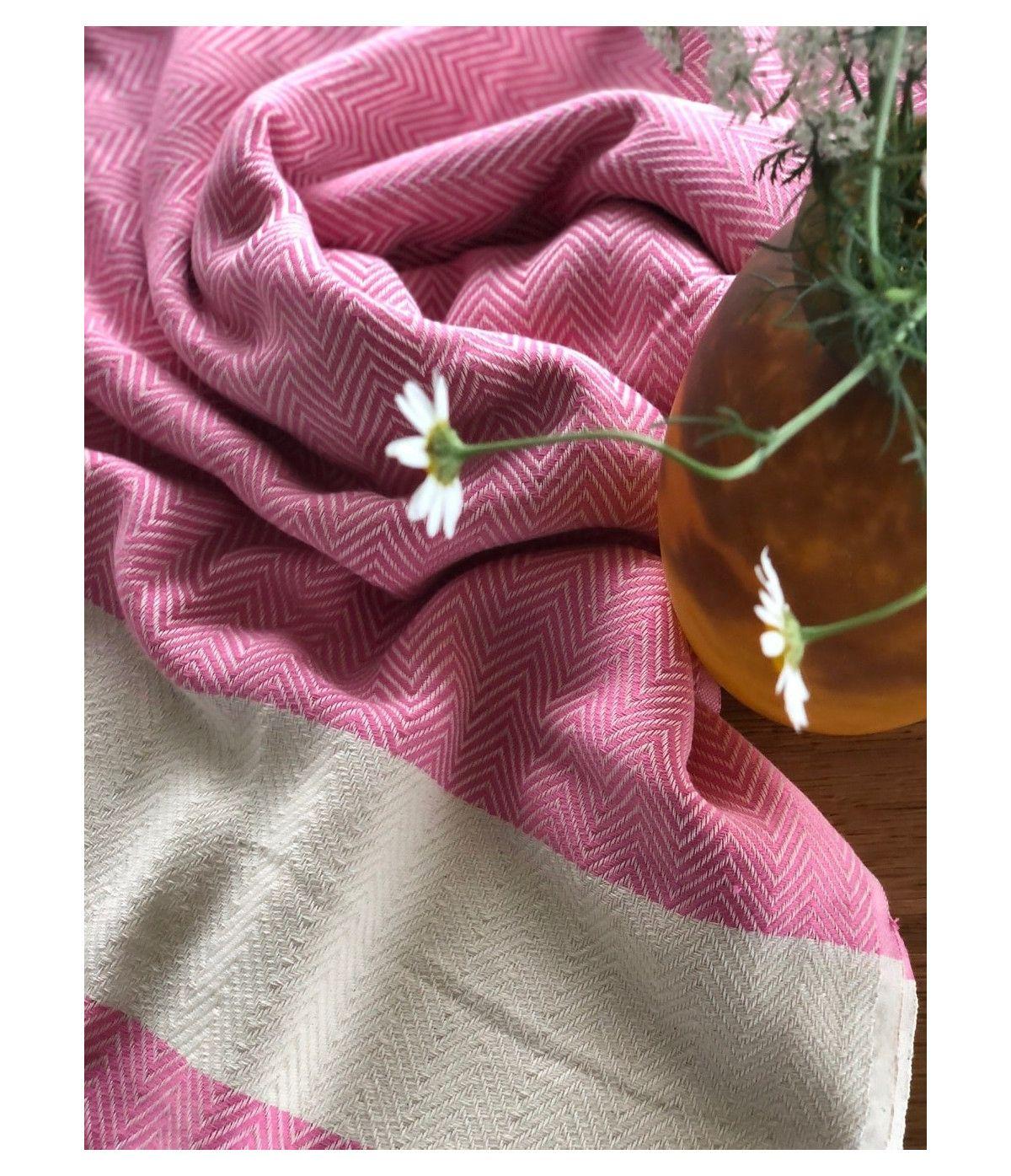 Toalha Turca Premium Herringbone pink